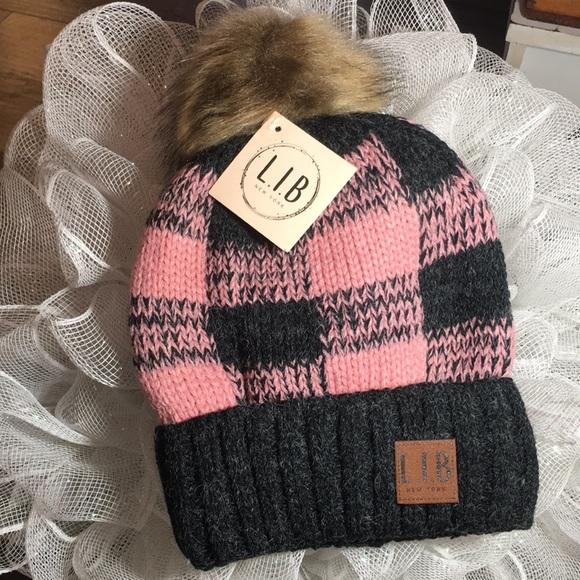 b4be536e429 POM POM BUFFALO PLAID WOMENS GIRLS PINK HAT  1 hat. NWT. L.I.B NEW YORK